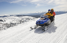 Yellowstone snowmobile in the mountains